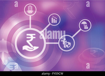 Human hand holding Indian currency symbol represents the concept of securing Rupee currency - Stock Photo