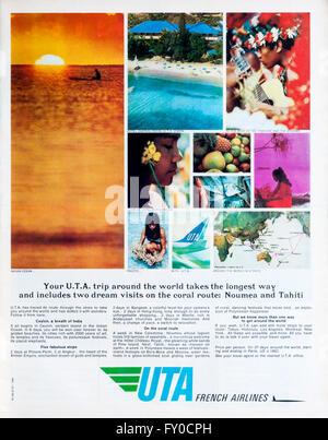 1960s magazine advertisement advertising Union de Transports Aériens, UTA French Airlines. - Stock Photo