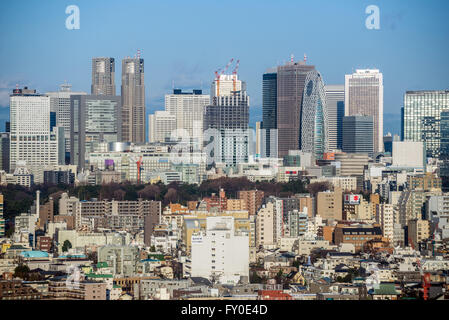 Aerial view from Hotel New Otani on skyscrapers in Nishi Shinjuku business district in Tokyo, Japan - Stock Photo