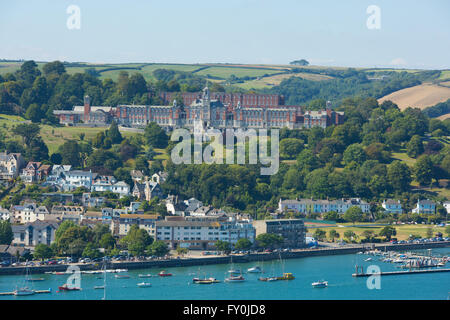 Dartmouth Devon England UK boats and yachts on the river and at harbourside with blue sky in summer - Stock Photo