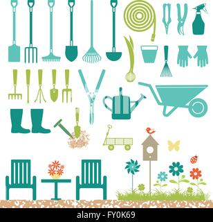 Garden related silhouette icons - Stock Photo