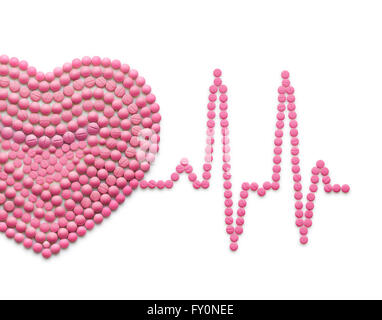Creative medicine and healthcare concept made of drugs and pills, isolated on white. ECG, a human heart with a heartbeat - Stock Photo