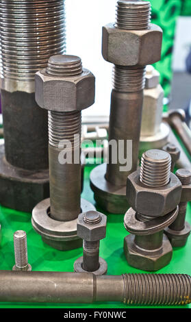 Set of hardware products with thread, fasteners - Stock Photo