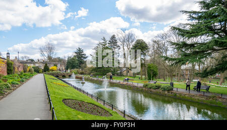 Overlooking Canal Gardens in Roundhay Park, Leeds, West Yorkshire, UK. - Stock Photo