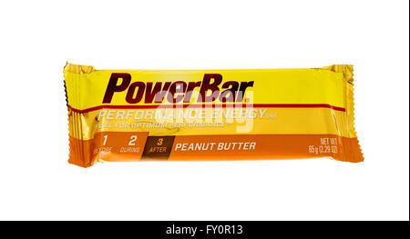 Winneconne, WI - 15 May 2015: Powerbar performance energy bar in peanut butter flavor. - Stock Photo