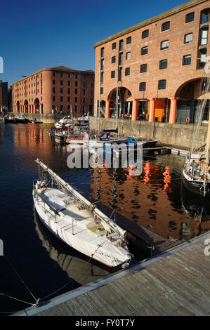 UK,Liverpool,Boats and Buildings in Albert Dock - Stock Photo