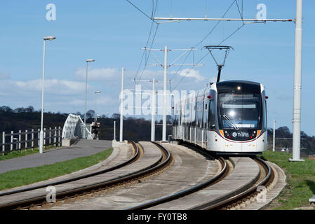 Edinburgh tram on route from the city centre to the airport. - Stock Photo