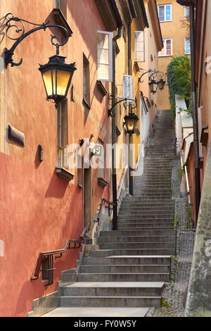 Warsaw's Old Town, Kamienne Schodki Street, Warsaw, Poland, Unesco - Stock Photo