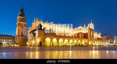 Sukiennice (Cloth Hall) at evening, Cracow, Poland, UNESCO - Stock Photo