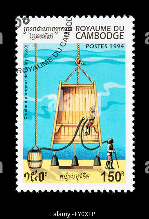 Postage stamp from Cambodia depicting Halley's diving bell. - Stock Photo
