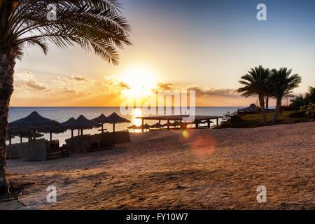 beatiful sunset on the beach - Stock Photo