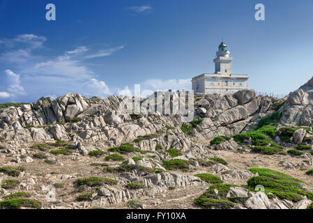 White lighthouse at Capo Testa, Sardinia, Italy - Stock Photo