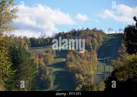 Big Powderhorn Ski resort in Bessemer, Michigan in autumn. - Stock Photo