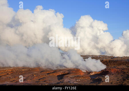 Steam vents / fumaroles at Gunnuhver, geothermal area and center of the Reykjanes Volcanic System, Iceland - Stock Photo