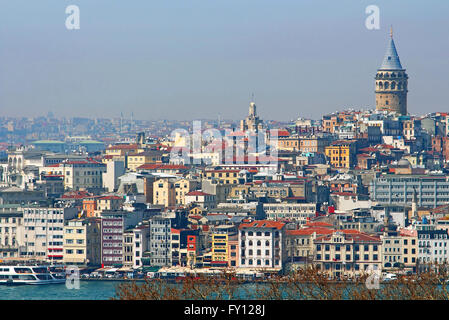 View of Istanbul with Galata Tower, Turkey - Stock Photo