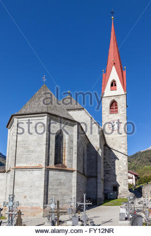 Village church of Rein, Campo Tures, South Tyrol, Italy - Stock Photo