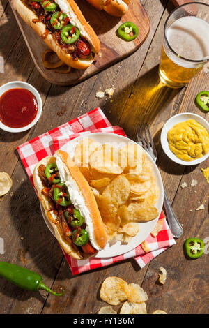 Homemade Seattle Style Hot Dog with Cream Cheese and Onions - Stock Photo