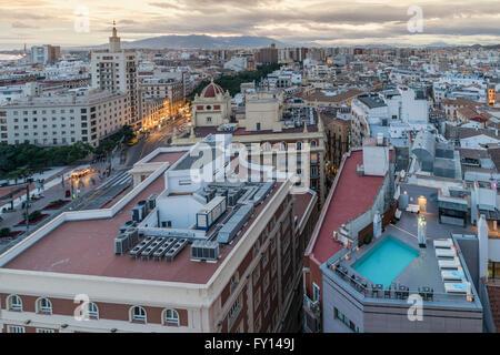 panoramic view view from AC Hotel Malaga Palacio, Malaga Andalusia, Spain - Stock Photo