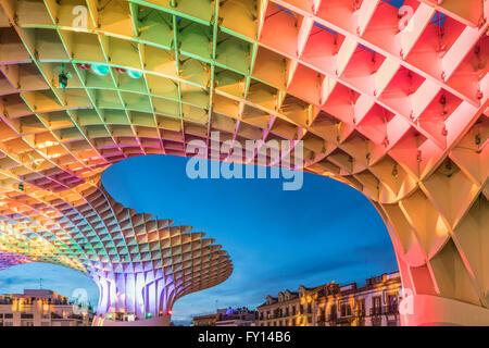 Metropol Parasol , Plaza de la Encarnacion ,Seville, J. Mayer Hermann architects, bonded timber with polyurethane - Stock Photo