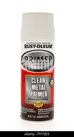 Winneconne, WI - 15 May 2015:  Can of Rust Oleum clean metal primer - Stock Photo