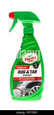 Winneconne, WI - 15 May 2015: Bottle of Turtle Wax bug and tar remover to use on automobiles. - Stock Photo