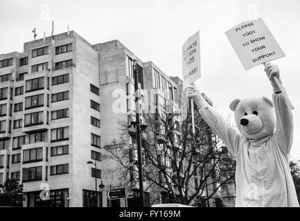 Protester dressed up like a polar bear to support the campaign against climate change. Shot during the Climate March - Stock Photo