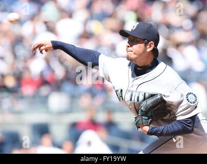 the Bronx, New York, USA. 17th Apr, 2016. Hisashi Iwakuma (Mariners), APRIL 17, 2016 - MLB : Hisashi Iwakuma of - Stock Photo