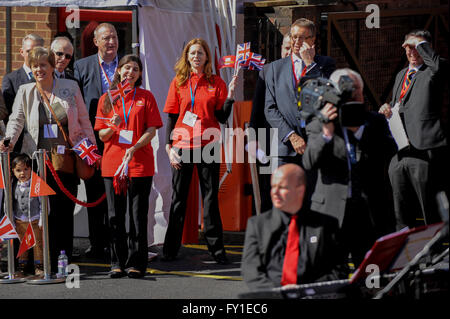 Windsor, UK.  20 April 2016.  Guests await the royal arrivals.  The Queen and The Duke of Edinburgh visit the Royal - Stock Photo