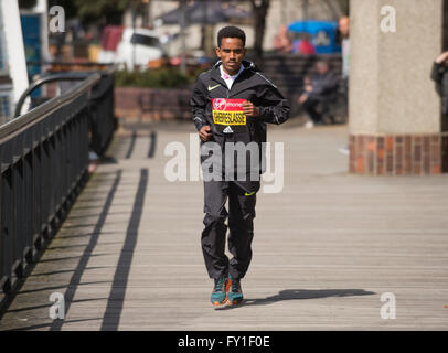 Tower Hotel, London, UK. 20th April, 2016. Ghirmay Ghebreslassie (ERI). Photocall with the elite men runners before - Stock Photo
