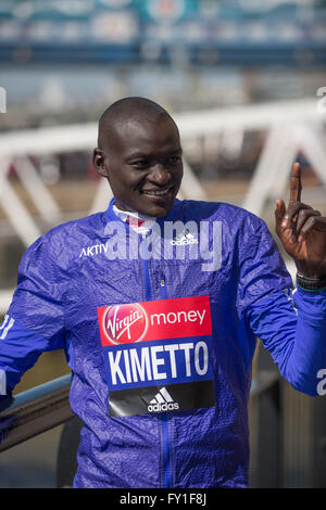 Tower Hotel, London, UK. 20th April, 2016. Dennis Kimetto (KEN). Photocall with the elite men runners before the - Stock Photo