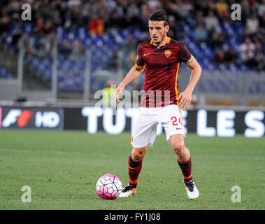 Rome, Italy. 20 april, 2016: Alessandro Florenzi in action during the Serie A football match between AS Roma and - Stock Photo
