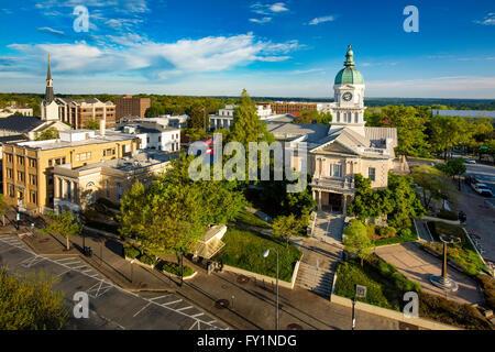 Early morning view over city hall and town of Athens, Georgia, USA - Stock Photo