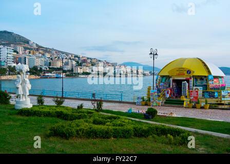 Tourist information office, Sheshi Limanit, Esplanade, seaside promenade, central Saranda, Albania - Stock Photo
