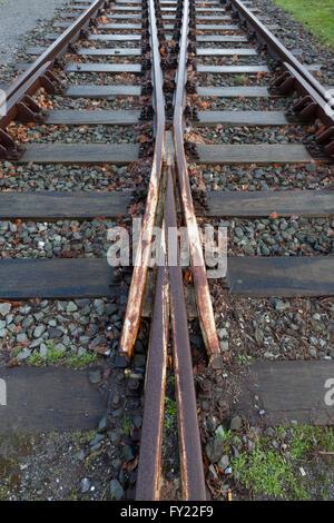 Railway tracks, Duisburg-Nord Landscape Park, a former steel works, Ruhr Area, North Rhine-Westphalia, Germany - Stock Photo