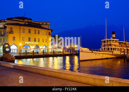 Riva del Garda in the evening, Lake Garda, Trentino Province, Province of South Tyrol, Italy, Europe - Stock Photo