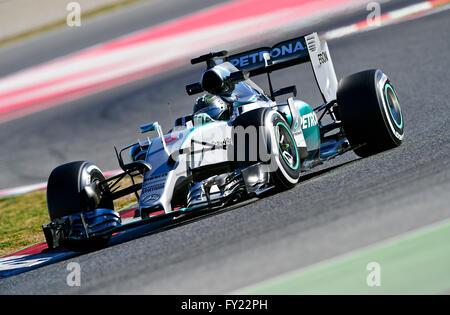 Nico Rosberg, GER, Mercedes-Benz AMG Petronas F1 Team W06, Formula 1 test runs, Circuit de Catalunya, Barcelona, - Stock Photo