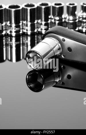 Sockets set ratchet tool reflection - Stock Photo
