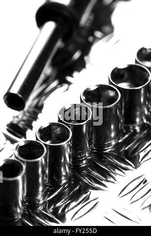 Socket set steel background - Stock Photo