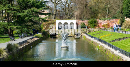 Overlooking Canal Gardens in Roundhay Park, Leeds, West Yorkshire, UK. - Stock Photo