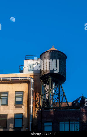 New York, NY 17 April 2016 Moon rising over Noho. - Stock Photo