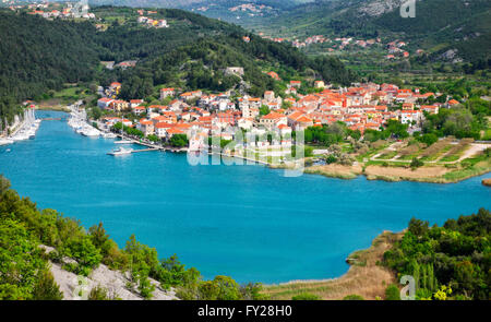 Skradin old town on river Krka, National Park Krka in Croatia - Stock Photo