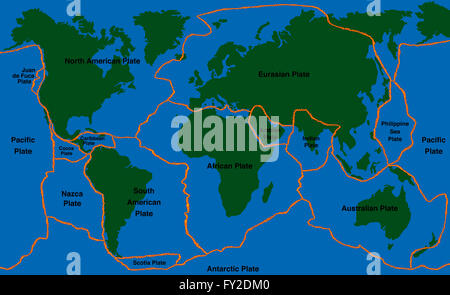 Plate Tectonics World Map With Major An Minor Plates Stock Photo - Plates map