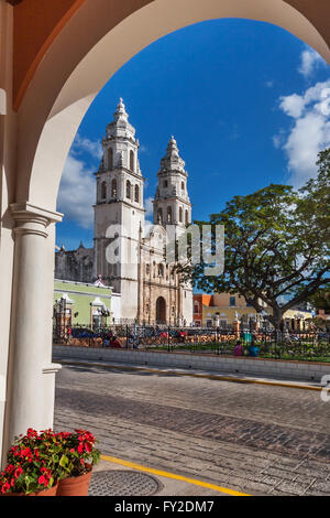 Campeche cathedral Independence Plaza - Stock Photo