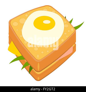 Croque Madame - Sandwich with Ham, Cheese and Fried Egg  Isolated on White Background. Traditional French Cuisine. - Stock Photo