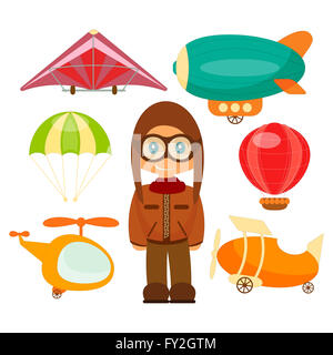 Set of Aero Vehicles. Airman in Uniform. Cartoon Style. Isolated on White Background.  Illustration. - Stock Photo