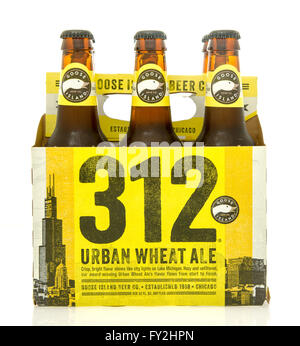 Winneconne, WI - 23 Dec 2015: Six pack of Goose Island 312 urban wheat ale beer. - Stock Photo