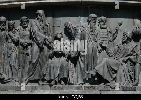 Tsar Michael and Tsar Alexis of Russia depicted in the bas relief dedicated to Russian statesmen by Russian sculptor - Stock Photo