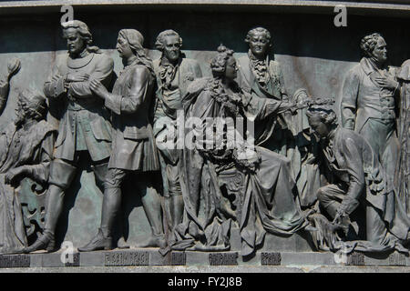 Tsar Peter the Great and Empress Catherine the Great depicted in the bas relief dedicated to Russian statesmen by - Stock Photo