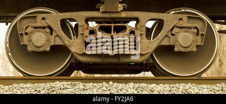 freight railcar wheels - Stock Photo