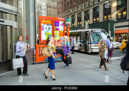 A branded subway entrance for the Columbus Circle station in New York for the new Turnstyle food hall and retail - Stock Photo